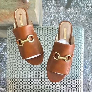 Louise et Cie Tan Open Toe Mules